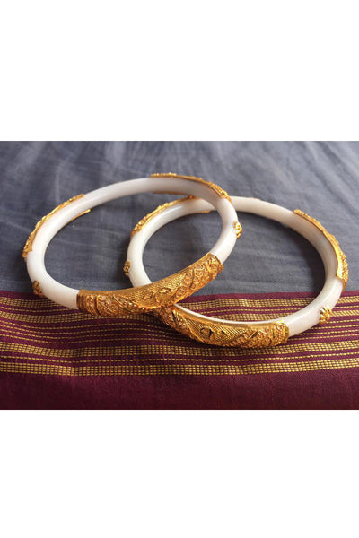 White Citi Gold Jali Work Bangle from Bengal