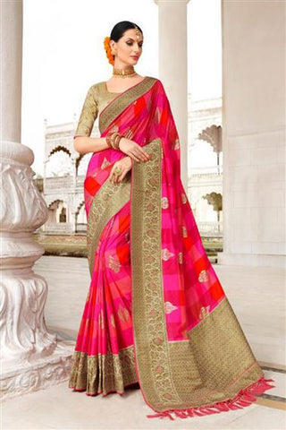 Pink & Orange Colored Banarasi Silk Saree
