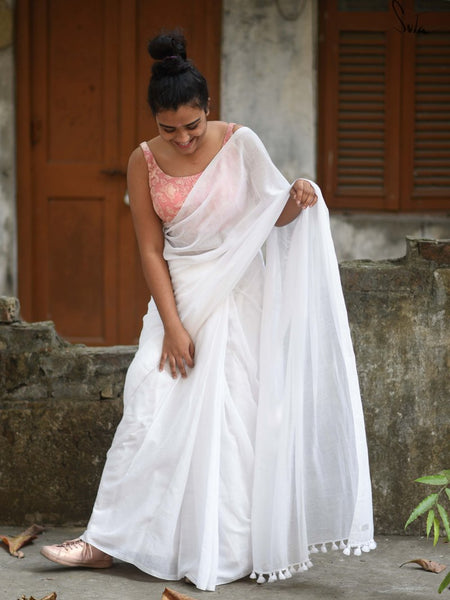 Pure White Cotton Saree