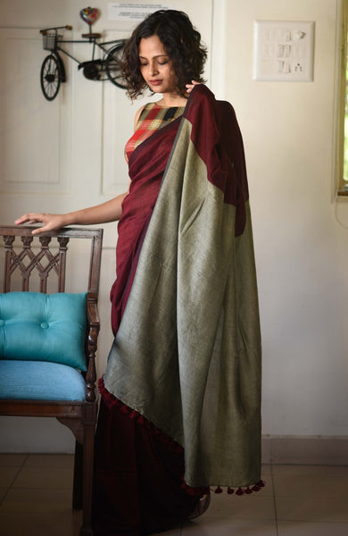 Maroon and Beige Pure Cotton Saree