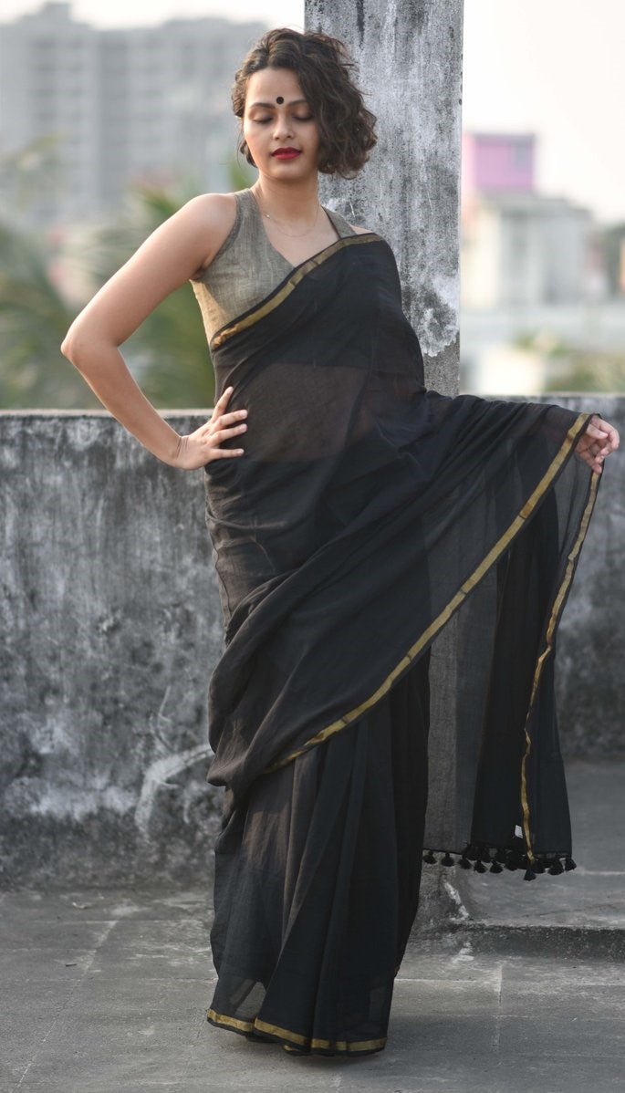Black and Golden Mul Mul Cotton Saree