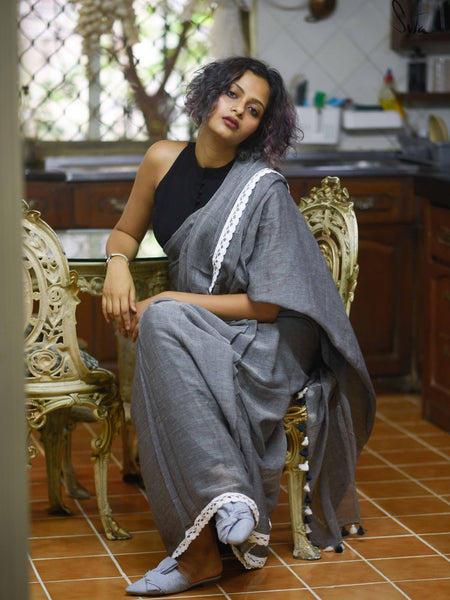 Grey with White Lace Pure MulMul Cotton Saree