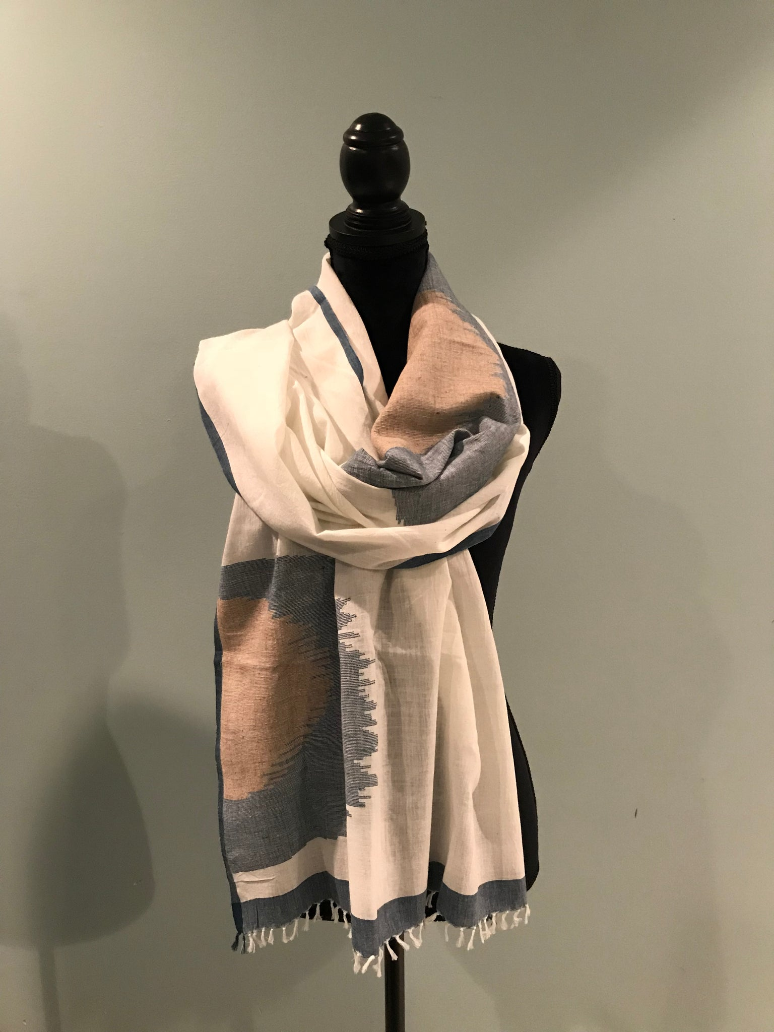 White Jamdani Organic Cotton Stoles/Scarves