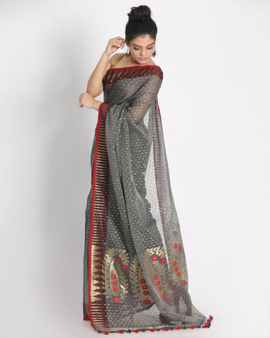 Grey and Red Pure Resham Cotton Silk Jamdani Saree