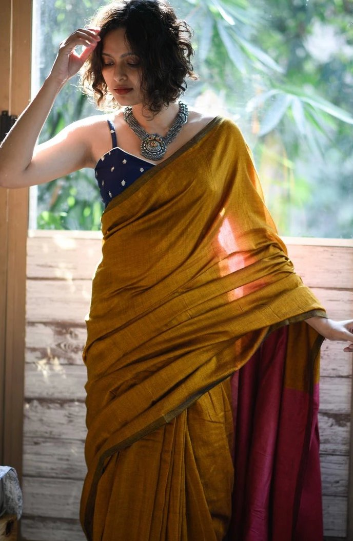 Gold & Pink Cotton Acrylic Saree