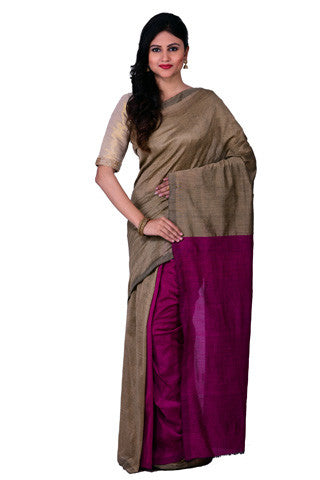 Beige and Purple Plain Khadi Cotton Saree