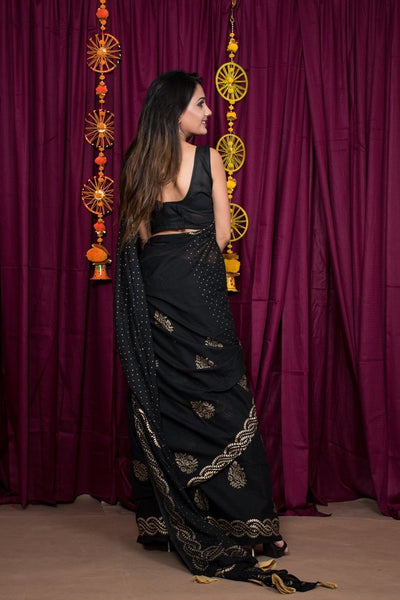 Black Hand Block Print Cotton Mulmul Saree