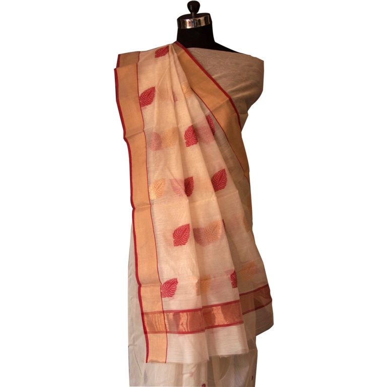 Off White Chanderi Saree With Red & Golden Border