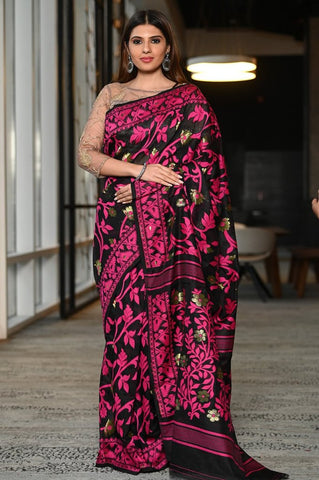 Black & Pink Multicolor Handwoven Dhakai Jamdani Saree