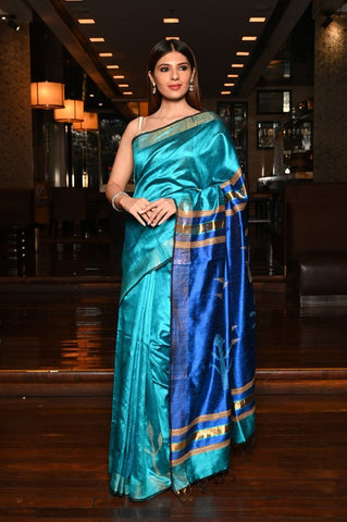 Blue Handwoven Dupion Raw Silk Saree