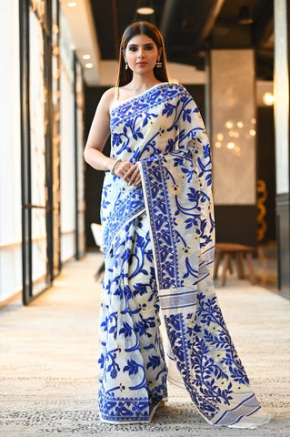 White & Blue Multicolor Handwoven Dhakai Jamdani Saree