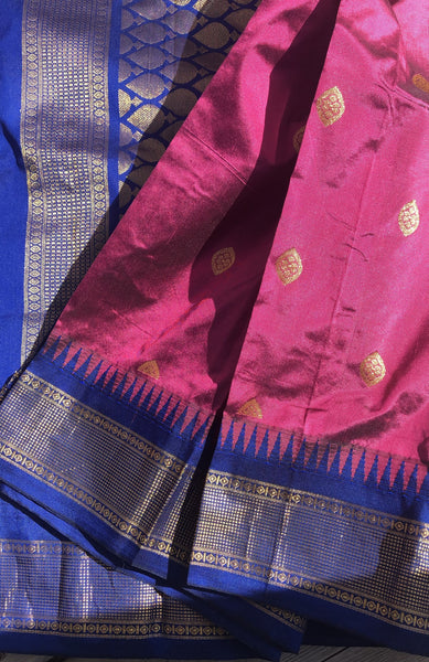 Mauve & Blue Gold Dual Tone Colored South Silk Saree