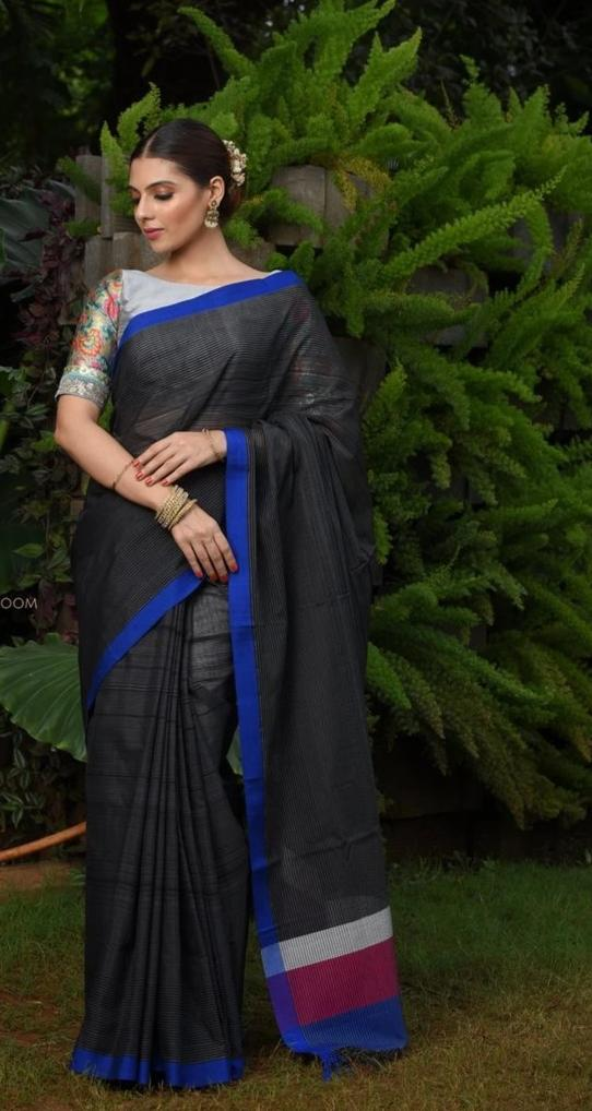Black Handwoven Cotton Silk Maheshwari Saree
