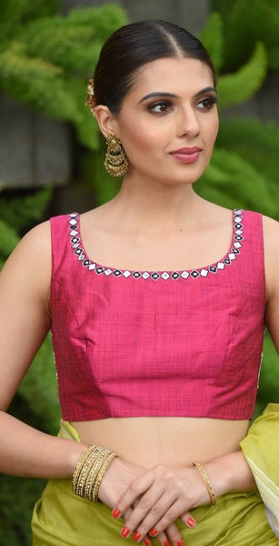 Pink Shade Hand Embroidered Raw Silk Sleeveless Blouse
