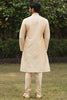 Manyavar Designer  Stylish Classic Beige Colored Silk Jacquard Kurta Pajama Set