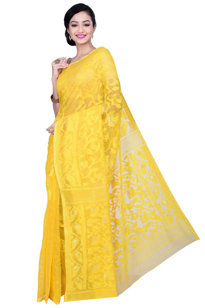 Yellow Muslin Silk Jamdani Saree