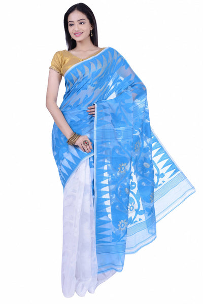 Blue & White Jamdani Saree