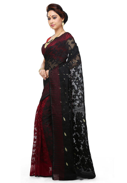 Black And Red Half-n-Half Jamdani Saree