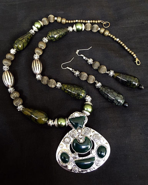 Bottle Green Beaded Necklace with matching Earrings