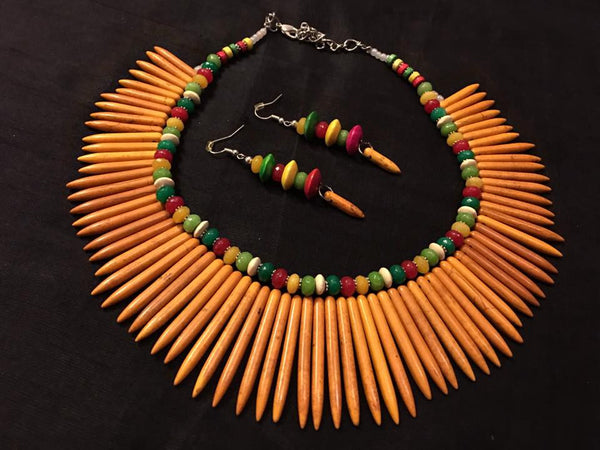 Mustard Colored Spike Beaded Necklace with matching Earrings