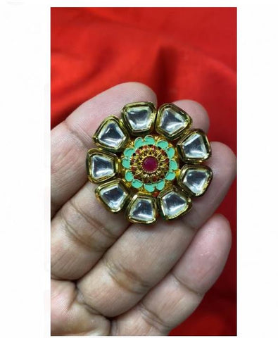 Gold & Green Colored Kundan Adjustable Finger Ring with Red Stone