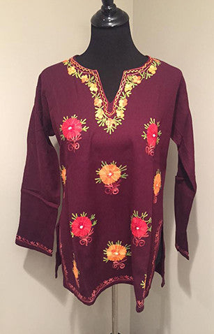 Deep Purple Pure Wool Kashmiri Embroidered Kurti with large Flowers