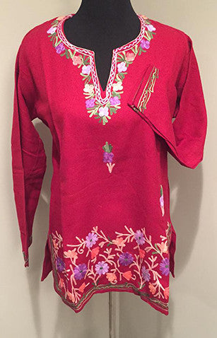 Red Pure Wool Kashmiri Embroidered Kurti