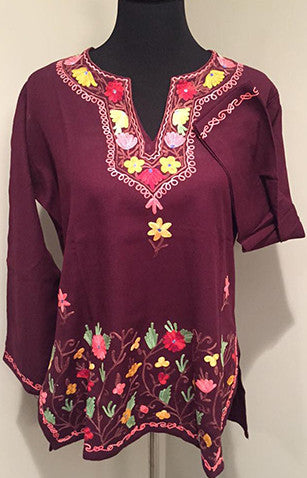 Deep Purple Pure Wool Kashmiri Embroidered Kurti