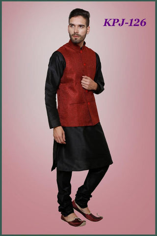 Mens Black Color Silk Kurta Pajama With Red Modi Jacket