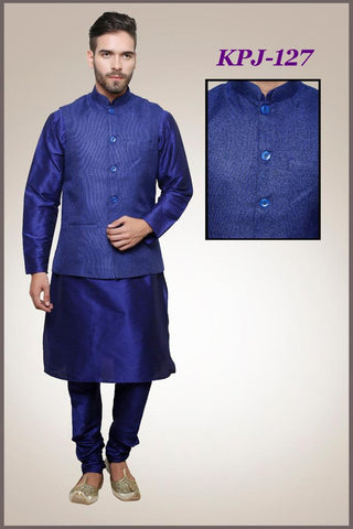 Mens Blue Color Silk Kurta Pajama With Blue Modi Jacket