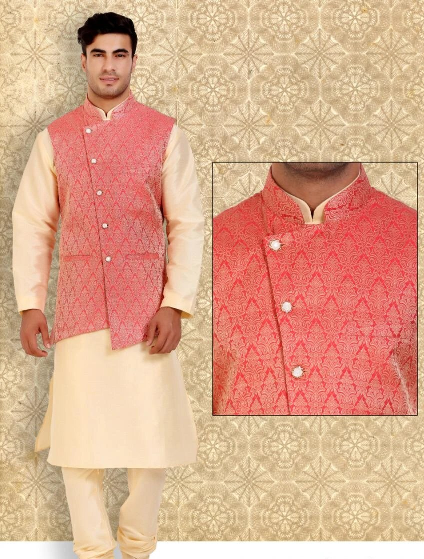 "Men""s Light Gold Color Silk Kurta Pajama With Printed Pinkish Orange Jacket"