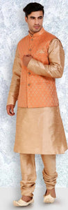 "Men""s Gold Color Silk Kurta Pajama With Printed Orange Jacket"