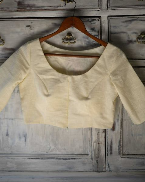 Off White Cotton Padded Ready made Blouse