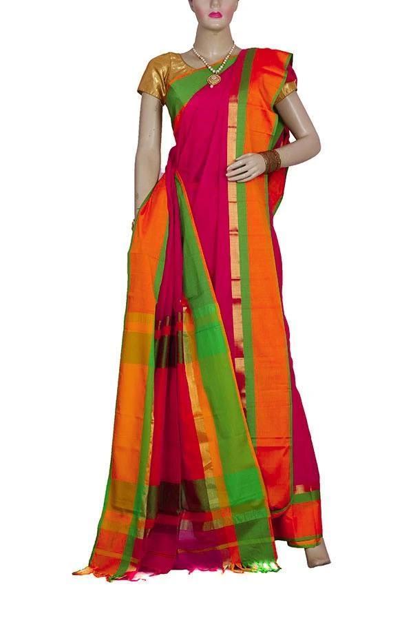 Silk & Cotton Blended Maheshwari Multicolor base Saree with wide Green, Red & Yellow color border with Zari Work Pallu