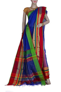 Blue Color Maheshwari Silk and Cotton Blended Saree with wide Green and Red Color Border