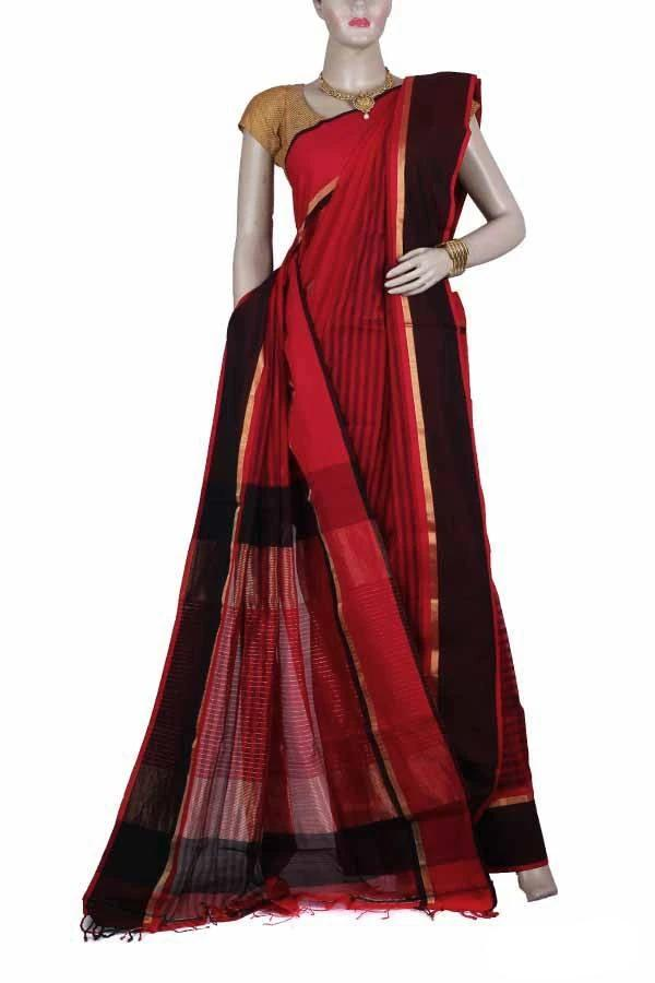 Red Color Maheshwari Silk and Cotton Blended Saree with wide Brown and Black Border