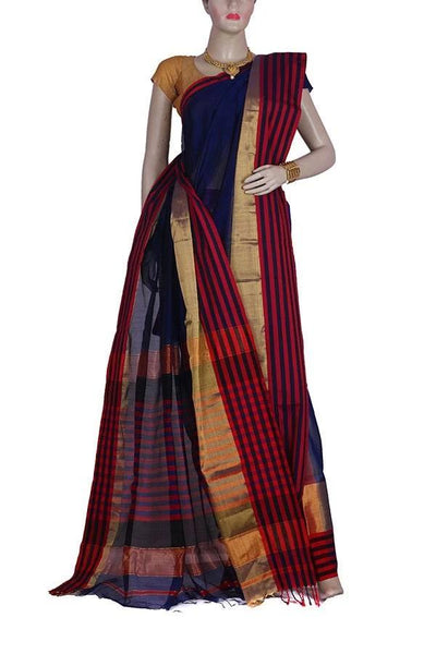 Blue color Maheshwari Silk and Cotton Saree with wide Golden and Partly Red color border with Zari work Pallu