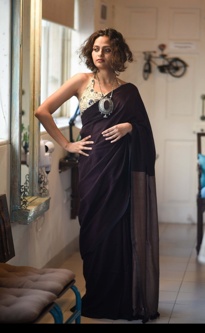 Dark Brown Cotton Saree