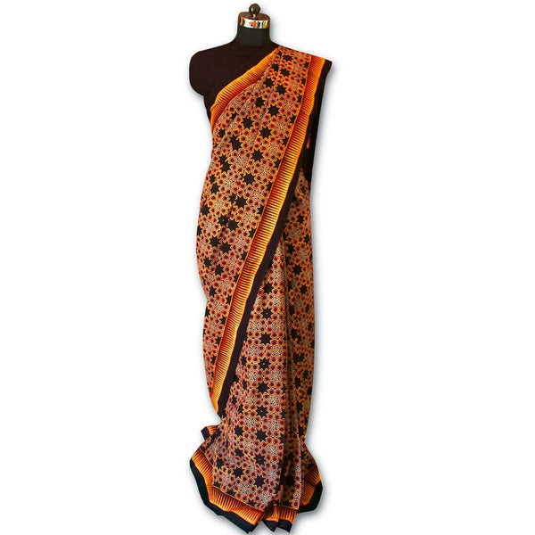 Rust, Black and Beige Handcrafted Pure Cotton Ajrakh Saree