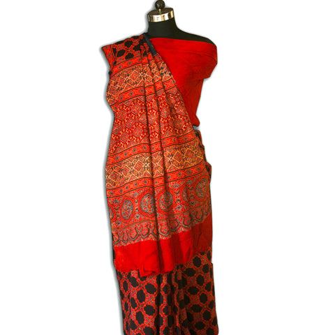 Rust and Black Star Patterned Handcrafted Ajrakh Saree In Semi Gajji