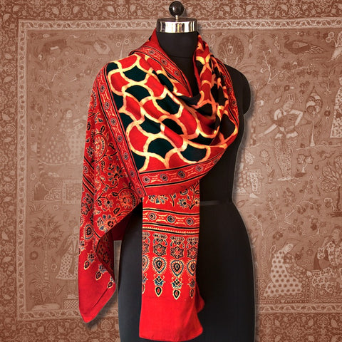 Handcrafted Ajrakh Modal Silk Stole