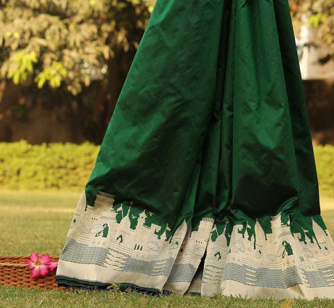 Deep Green Pure Katan Silk Banarasi Handloom Saree