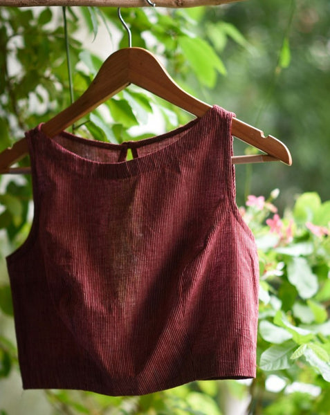 Maroon Handloom Cotton Ready Made Blouse