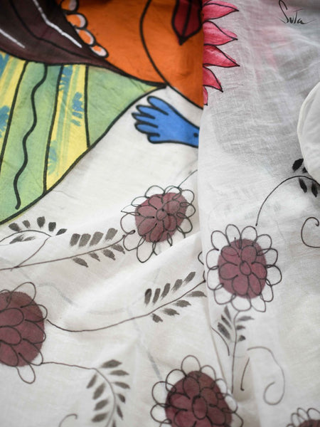 White Mul Cotton Hand Painted Saree