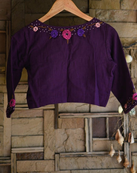 Purple Cotton Embroidery ready Made Blouse