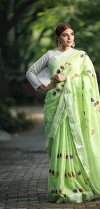 Green Shade Embroidered Handwoven Linen Saree with Zari Border