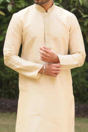Manyavar Stylish Classic Beige Colored Silk Jacquard Kurta Pajama Set