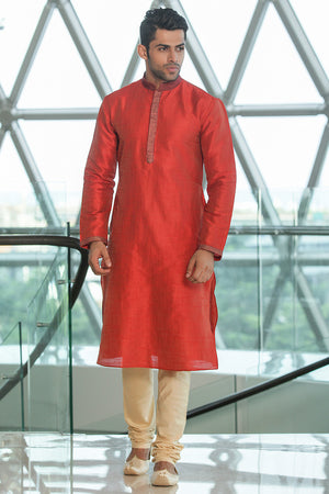 Red and Gold Pure Dupion Silk Kurta Set