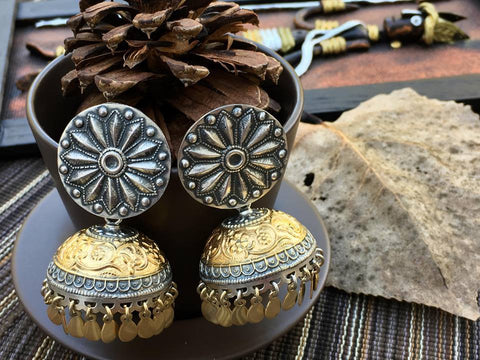 Dual Tone Sterling Silver  Jhumka Earring