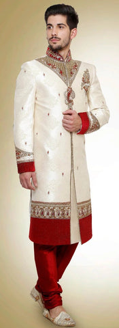 White & Red Embroidered Brocade Sherwani Suit